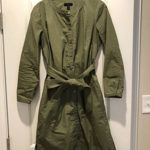 JCrew Army Green Shirt Dress Size Small